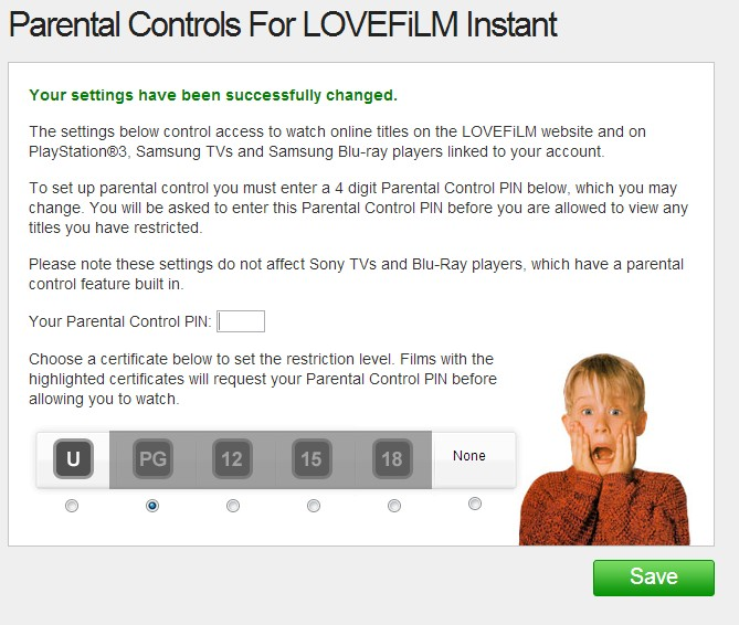 Setting Parental Control