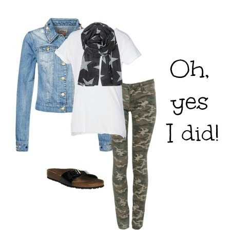Denim and camouflage outfit for women Autumn 2013