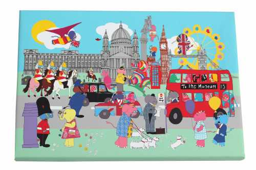 Elephants in London Canvas Print