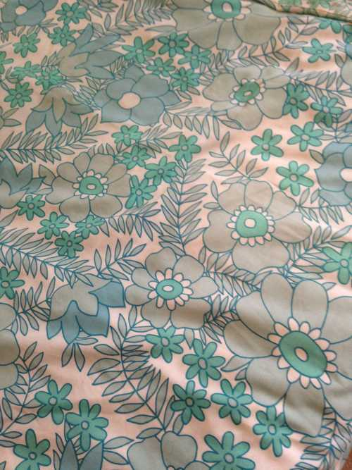 Retro 60s Duvet Cover Teal Flowers